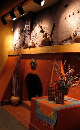 The fireplace and interior decoration of the restaurant