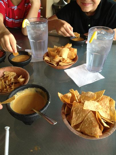 Nachos with dipping sauces