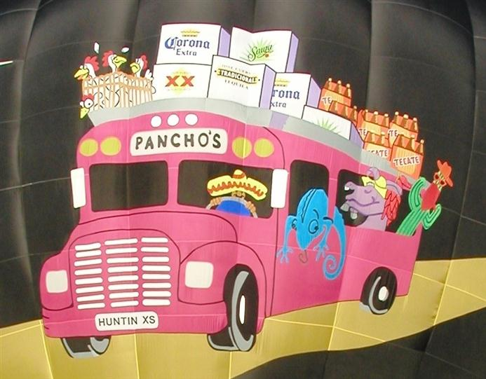 The image of the pink Pancho's bus of the ballon