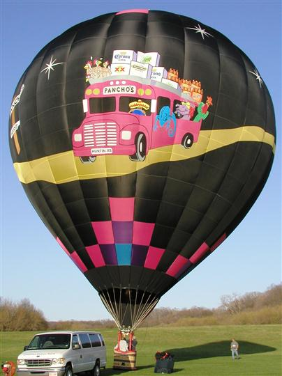 A black ballon with the image Pancho's bus