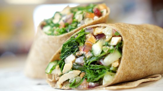 Sliced veggie wrap.