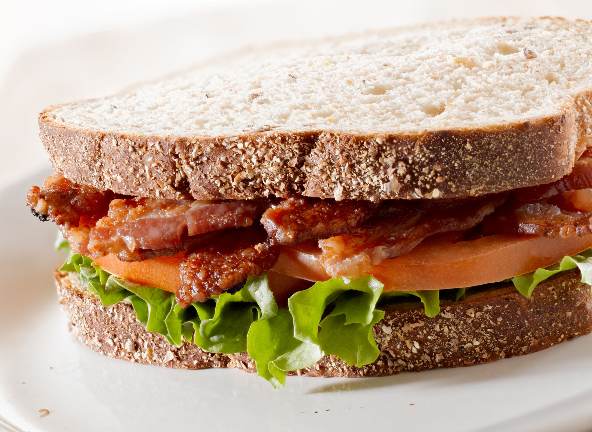 BLT sandwich on whole wheat toast bread