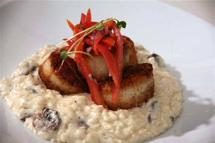 Jumbo seared scallops over risotto