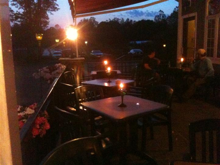 Patio with candles lit on table