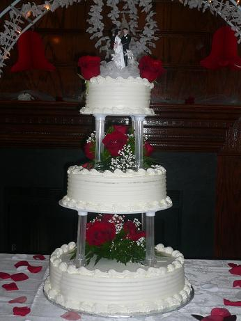 three layer wedding cake with roses