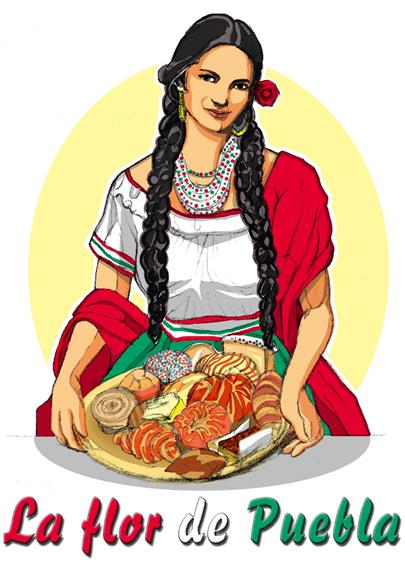 Graphic of woman holding mexican desserts titled La Flor de Puebla