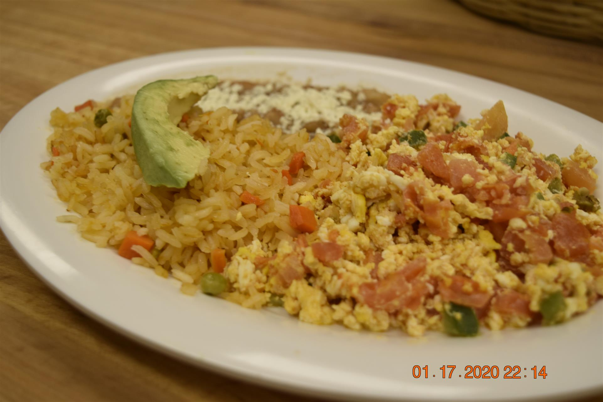 scrambled eggs with fried rice and beans