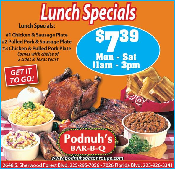 Lunch Specials ($7.39 monday through saturday from 11am to 3 pm) #1 Chicken and sausage palte #2 Pulled pork & Sausage plate #3 Chicken & Pulled Pork plate(comes with choice of 2 sides & Texas Toast)