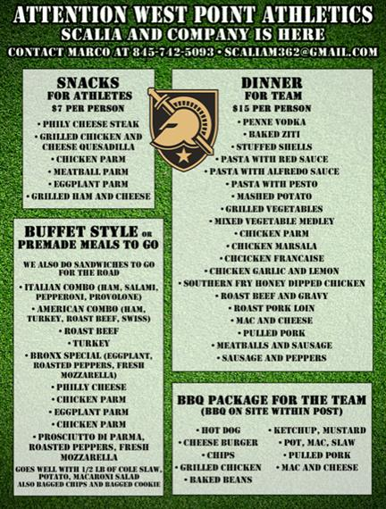 Scalia's catering options for west point athletics. Click image or button above image for pdf link