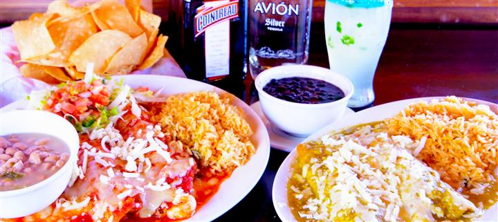 Platter with a variety of Mexican food