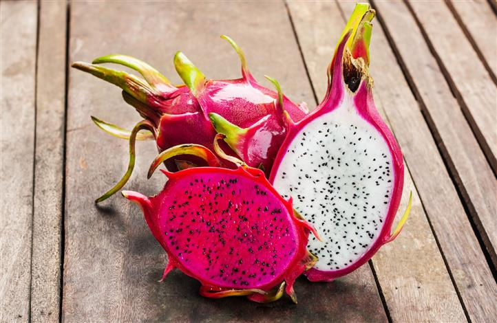 Dragonfruit on wooden table