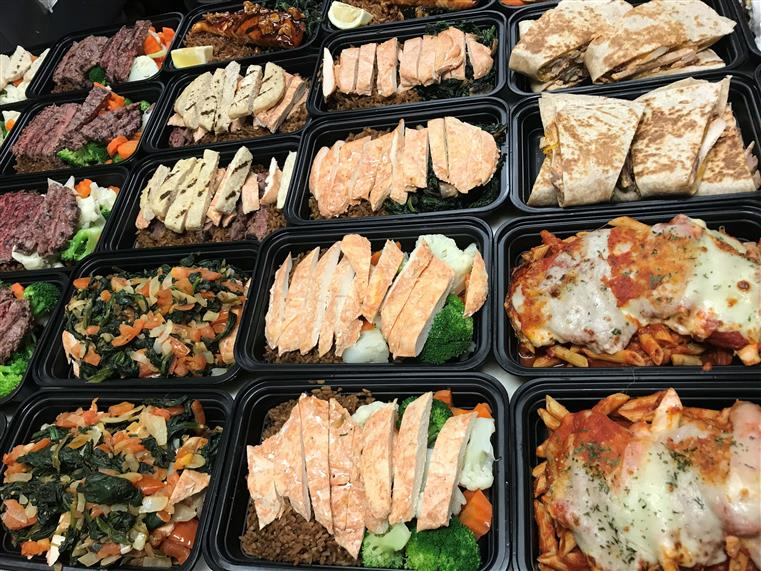 Variety of meal prep trays