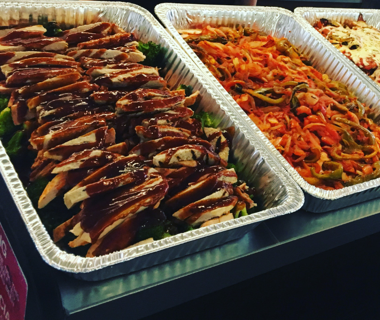 Variety of catering trays on a table