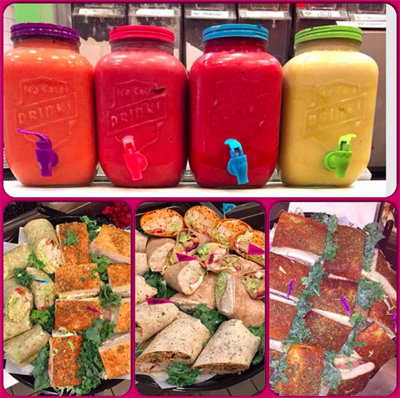 three pictures of various wraps. top picture has four different condiments
