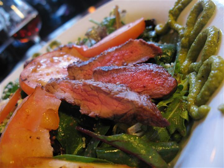 salad with grilled steak and vegetables