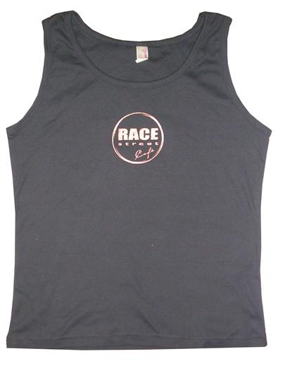 n tthe race street cafe tank top with the logo branded ohe front