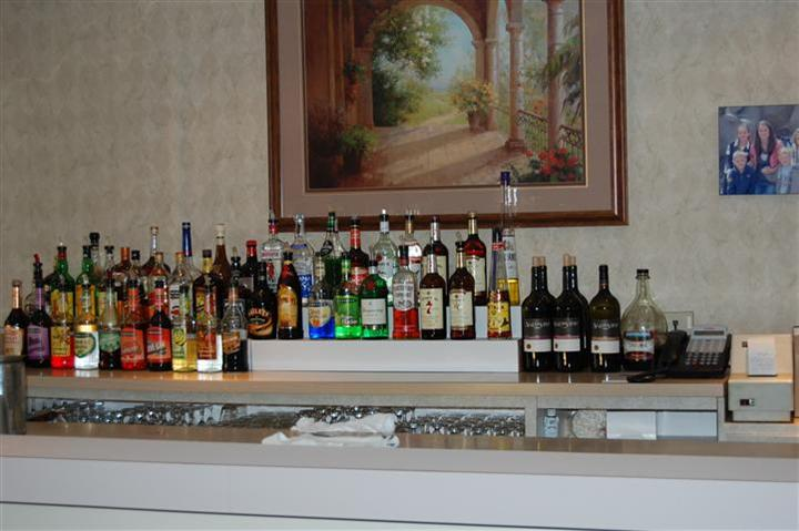 Bar area with rows of liquor
