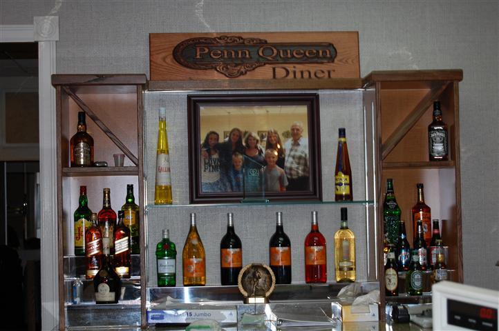 Bar area with photo overhead