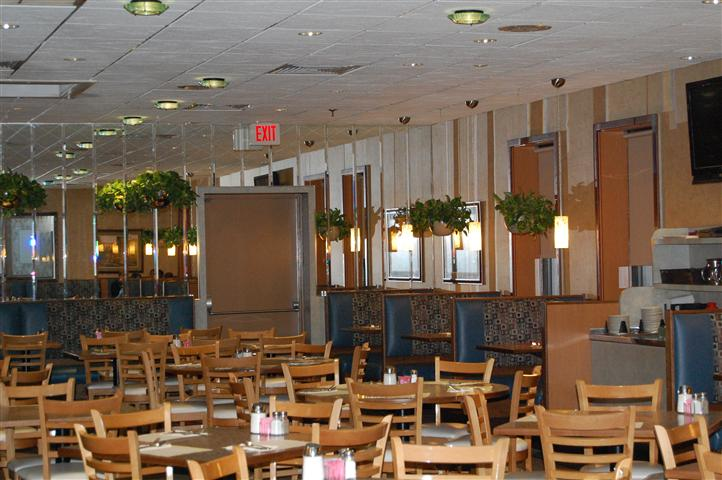 Dining area with exit in the background
