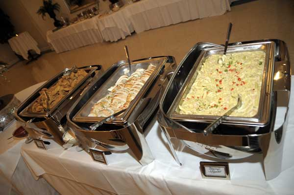 various catering buffet trays
