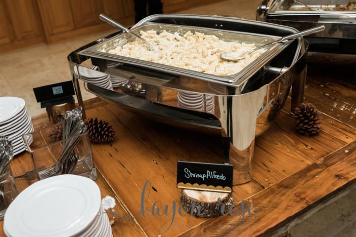 metal catering display of shrimp alfredo