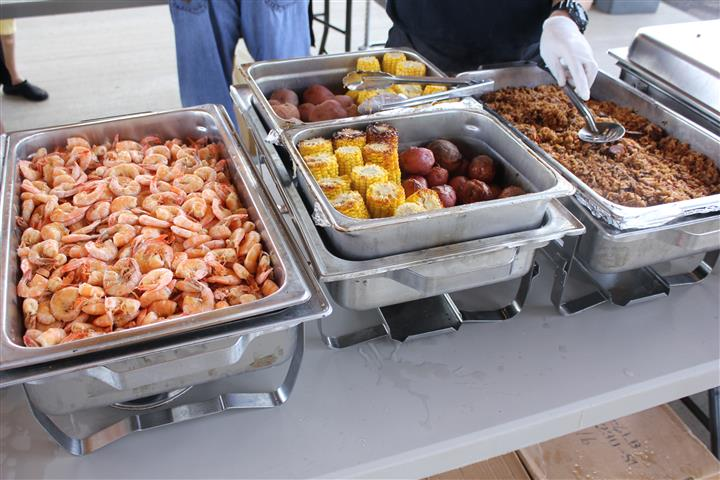 shrimp boil on buffet table
