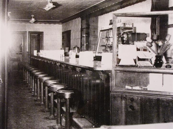 vintage photo of the bar with stools