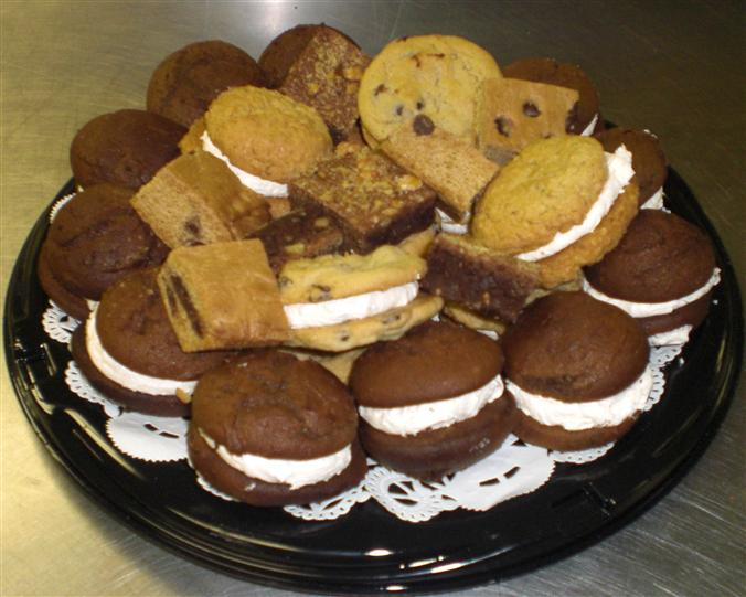 Sweets 'n Treats platter with whoopie pies, cookies and squares