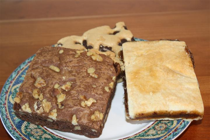 Palte with Chocolate Chip, Dates, Brownies squares