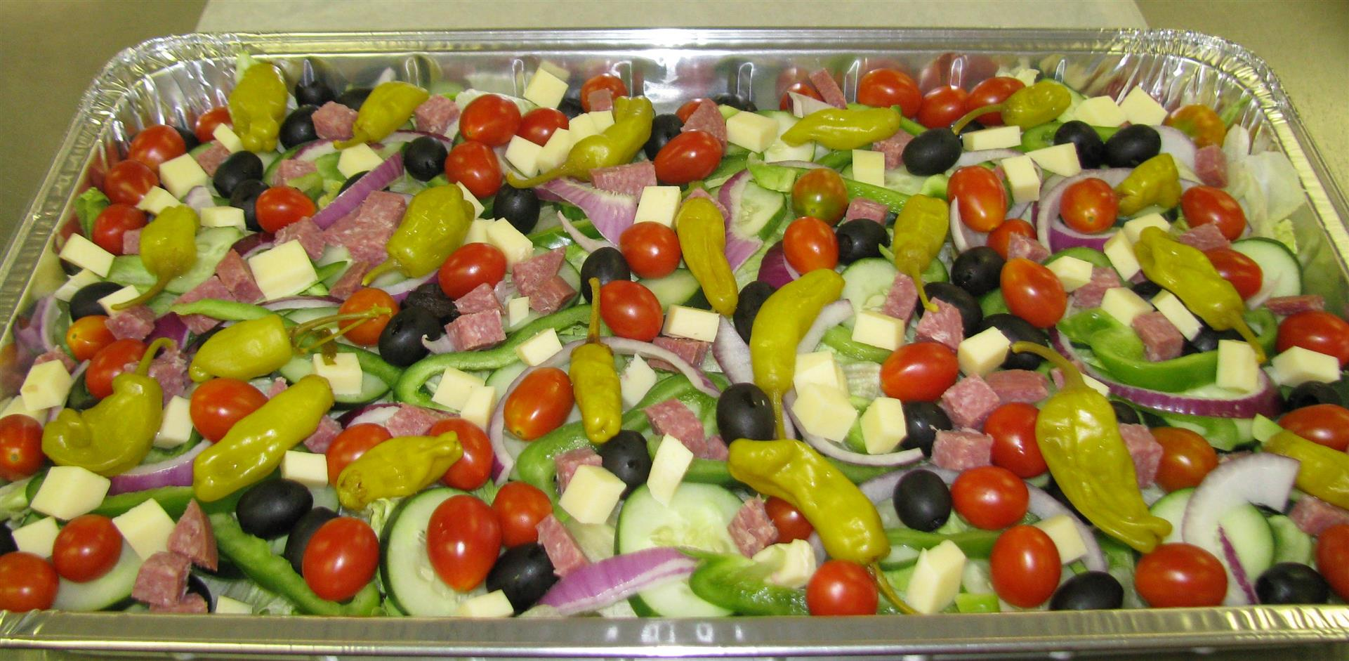 Mixed antipasta with salami, provolone and banana peppers
