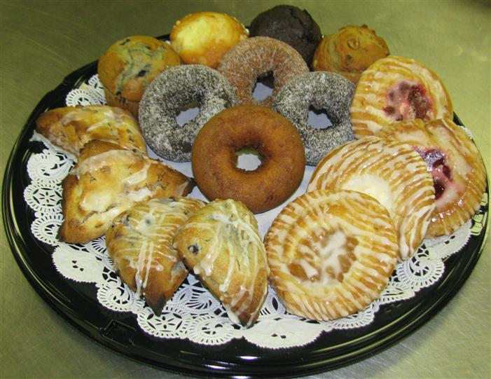 Platter of assorted breakfast pastries