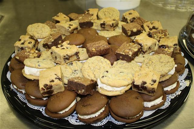 Dessert tray with whoopie pies, cookie pies, cookies and squares