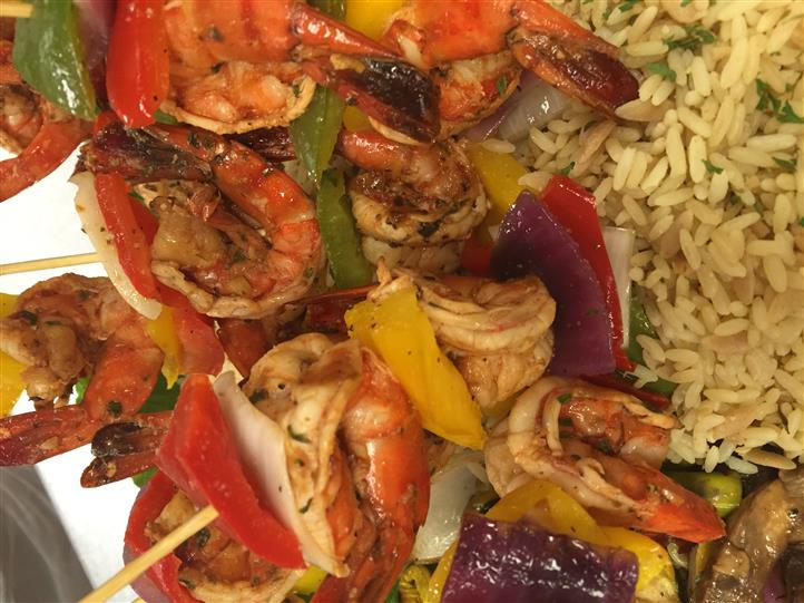 Rice with peppers, onions, and shrimp