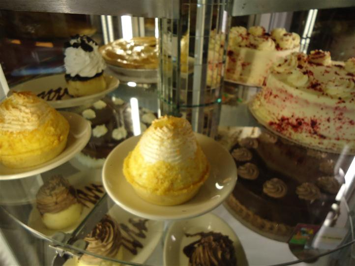 Pastries on a glass display