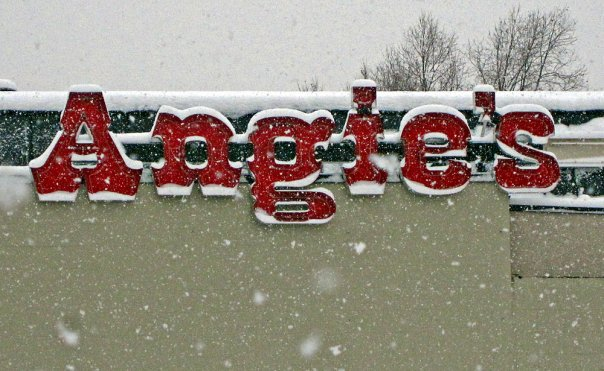 Angies Sign outside with snow on it