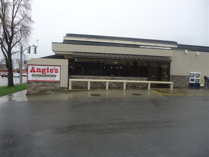 Parking lot and entrance of Angies diner.