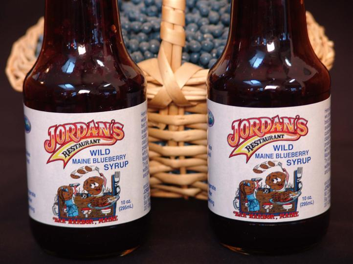 bottles of jordan's wild maine blueberry syrup