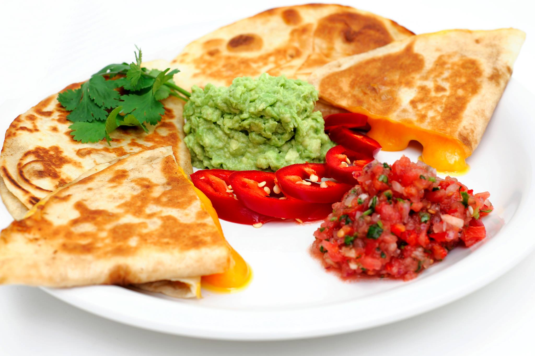 cheese quesadillas with topping