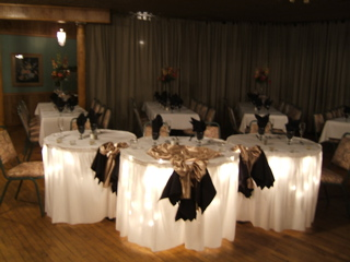 tables setup with napkins, and utensils
