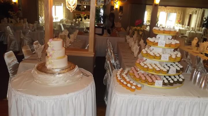 various displays of cupcakes and cakes