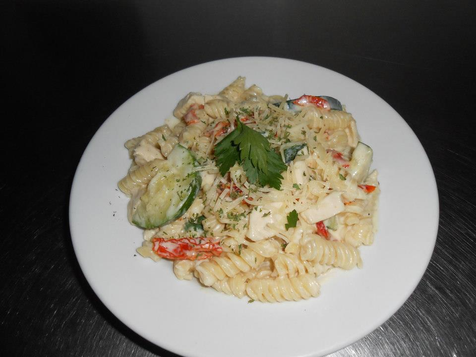 pasta salad with vegetables and parsley