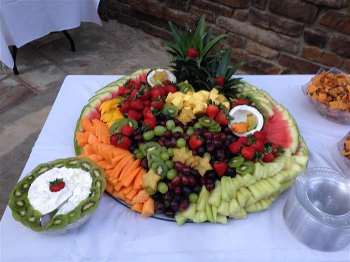 A decorated fresh fruits  tray