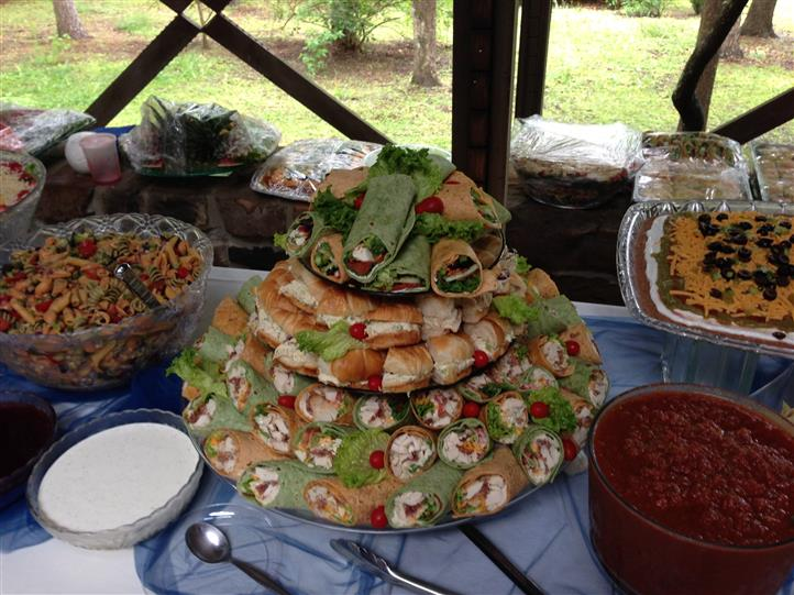 Wraps on a catering tray