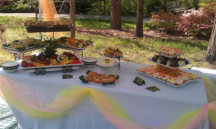 An outdoor shot of a decorated buffet