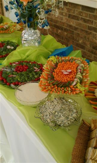 A decorated buffet with salald trays