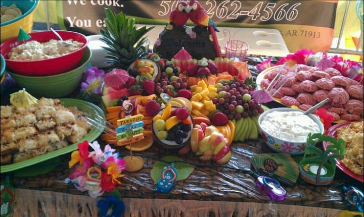 Decorated fruits on a buffet