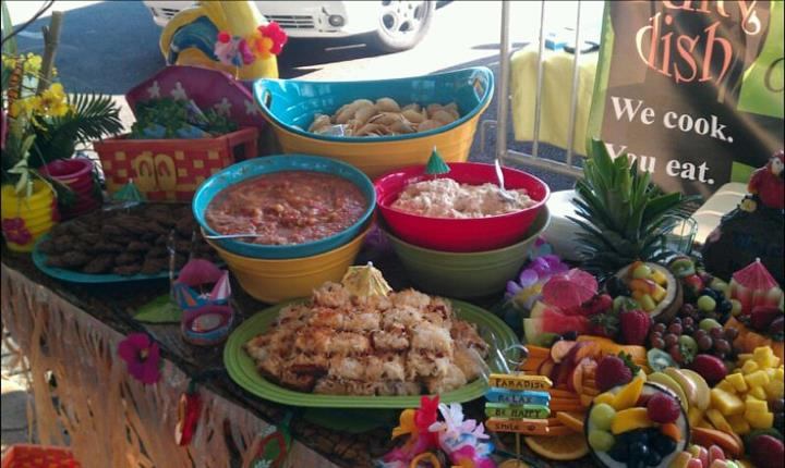 Bowls and trays on a decorated buffet
