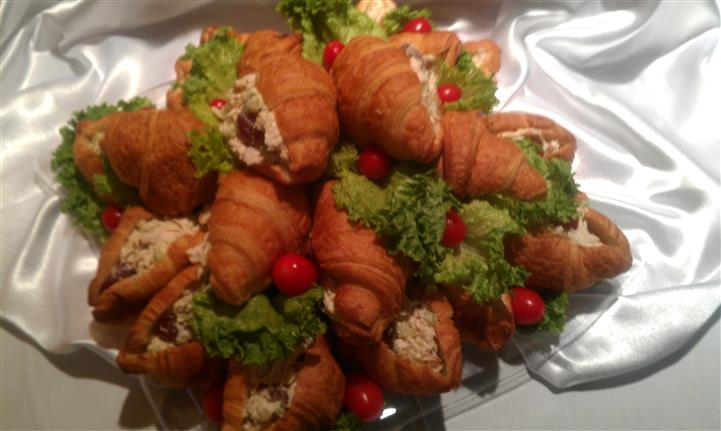 A tray of croissants