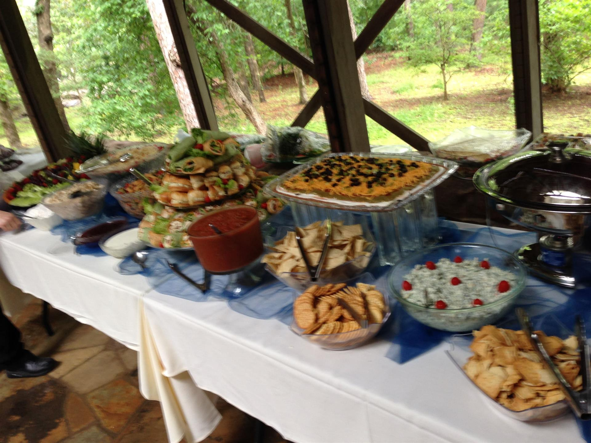 Various items displayed for a catering event