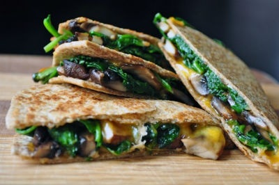 chicken quesadillas with cheese, mushrooms and spinach